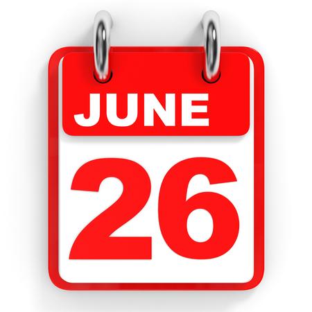 twenty sixth: Calendar on white background. 26 June. 3D illustration.