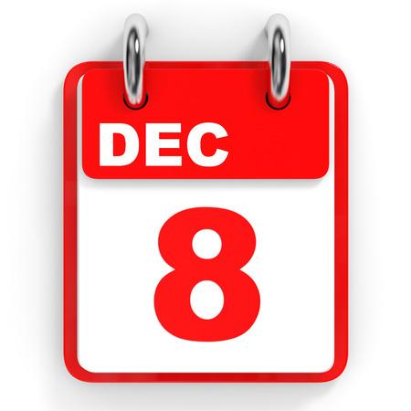 december: Calendar on white background. 8 December. 3D illustration.