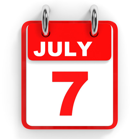 seventh: Calendar on white background. 7 July. 3D illustration.