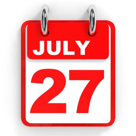 27: Calendar on white background. 27 July. 3D illustration. Stock Photo