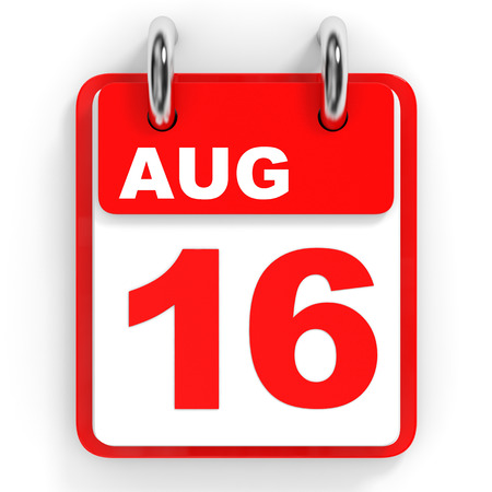 sixteenth note: Calendar on white background. 16 August. 3D illustration.