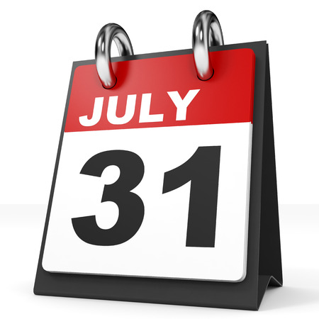 31: Calendar on white background. 31 July. 3D illustration.
