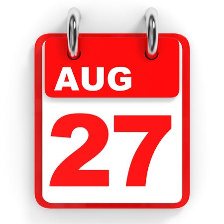 27: Calendar on white background. 27 August. 3D illustration.