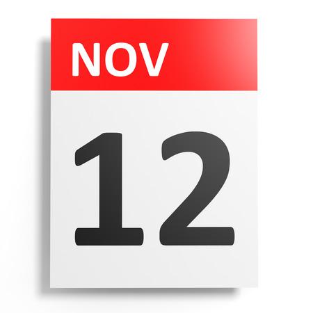 november 3d: Calendar on white background. 12 November. 3D illustration. Stock Photo