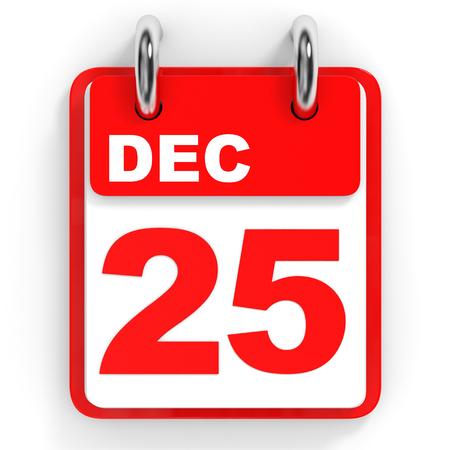 25 december: Calendar on white background. 25 December. 3D illustration. Stock Photo