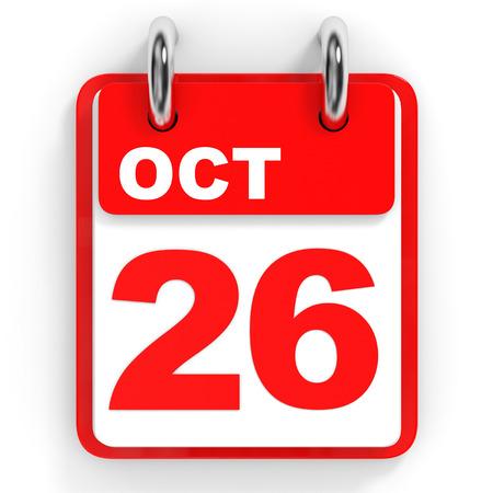 twenty six: Calendar on white background. 26 October. 3D illustration.