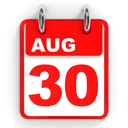 30th: Calendar on white background. 30 August. 3D illustration. Stock Photo