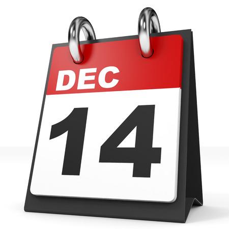 14: Calendar on white background. 14 December. 3D illustration.