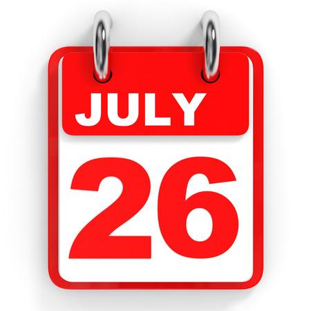 twenty sixth: Calendar on white background. 26 July. 3D illustration.