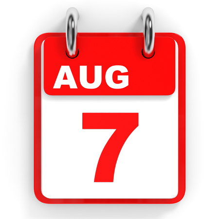 seventh: Calendar on white background. 7 August. 3D illustration.