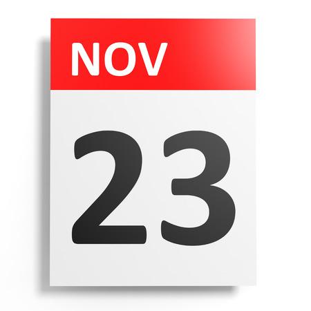 november 3d: Calendar on white background. 23 November. 3D illustration.