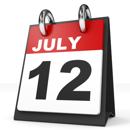 a 12: Calendar on white background. 12 July. 3D illustration. Stock Photo