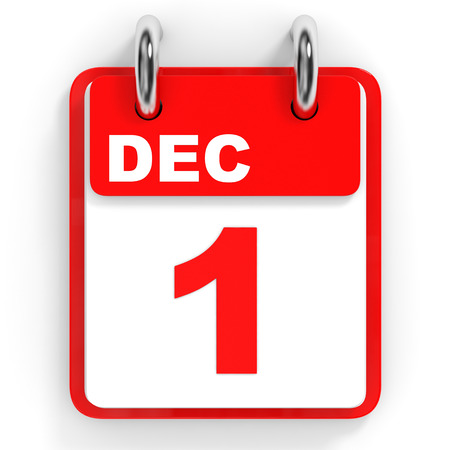 december: Calendar on white background. 1 December. 3D illustration.