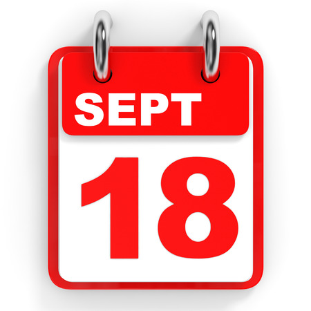 18th: Calendar on white background. 18 September. 3D illustration.