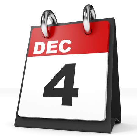 in december: Calendar on white background. 4 December. 3D illustration. Stock Photo