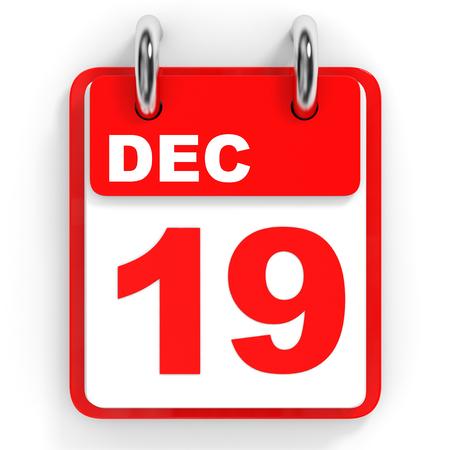 december: Calendar on white background. 19 December. 3D illustration.
