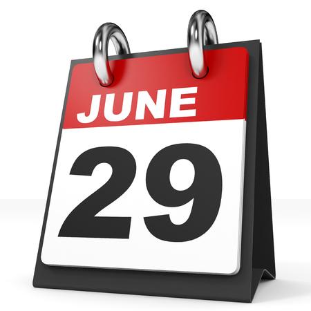 twenty ninth: Calendar on white background. 29 June. 3D illustration. Stock Photo