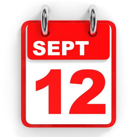 12: Calendar on white background. 12 September. 3D illustration. Stock Photo
