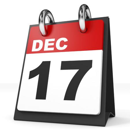 in december: Calendar on white background. 17 December. 3D illustration.