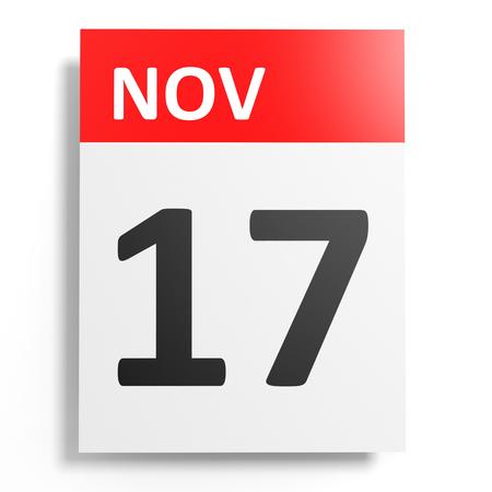 17: Calendar on white background. 17 November. 3D illustration.