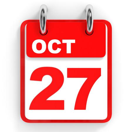 27: Calendar on white background. 27 October. 3D illustration. Stock Photo