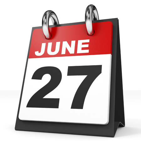 calendar day: Calendar on white background. 27 June. 3D illustration. Stock Photo