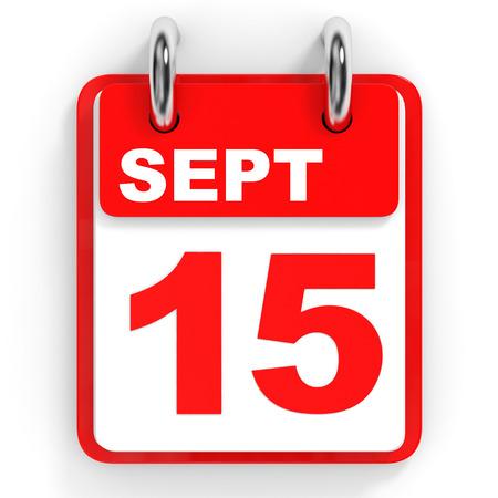 Calendar on white background. 15 September. 3D illustration. Stock Photo