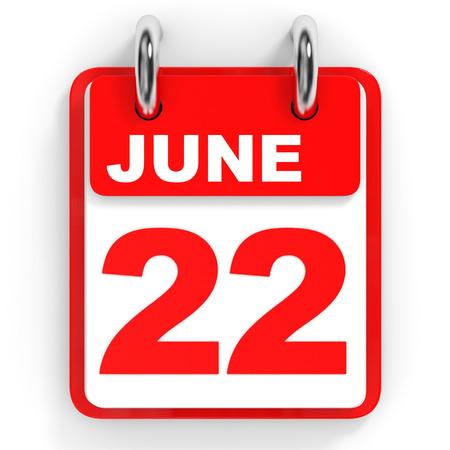 twenty second: Calendar on white background. 22 June. 3D illustration. Stock Photo