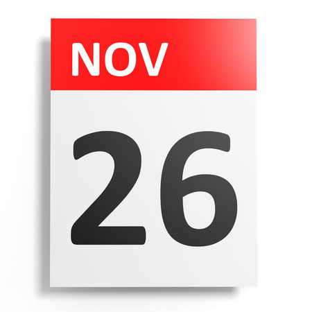 twenty sixth: Calendar on white background. 26 November. 3D illustration. Stock Photo