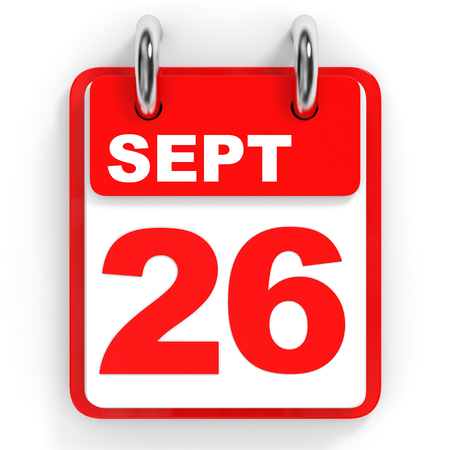 26th: Calendar on white background. 26 September. 3D illustration.