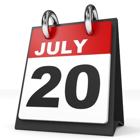 20: Calendar on white background. 20 July. 3D illustration.