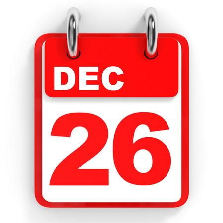 in december: Calendar on white background. 26 December. 3D illustration. Stock Photo