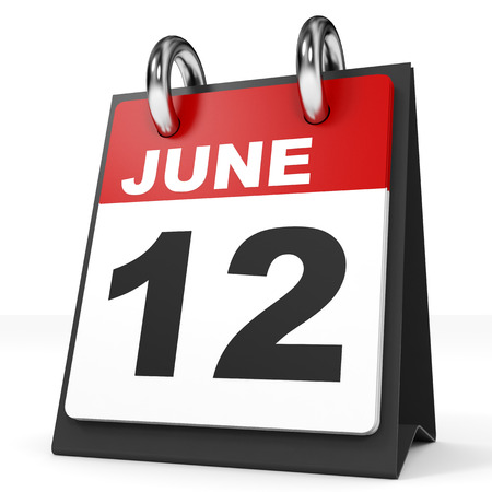 a 12: Calendar on white background. 12 June. 3D illustration. Stock Photo