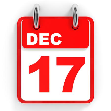 17: Calendar on white background. 17 December. 3D illustration.