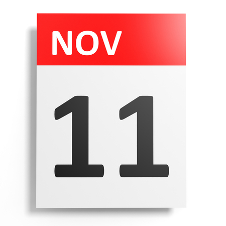 number eleven: Calendar on white background. 11 November. 3D illustration.