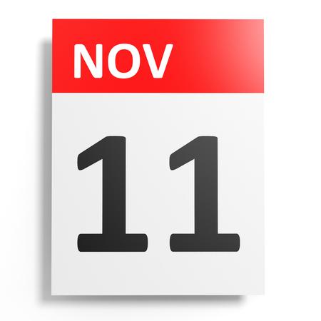 november 3d: Calendar on white background. 11 November. 3D illustration.