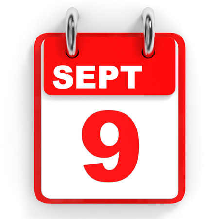 9th: Calendar on white background. 9 September. 3D illustration.