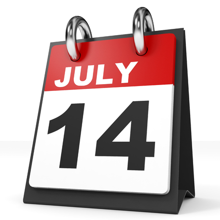 fourteenth: Calendar on white background. 14 July. 3D illustration.