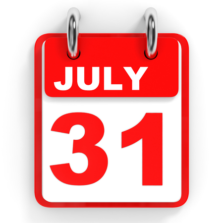 one on one meeting: Calendar on white background. 31 July. 3D illustration.