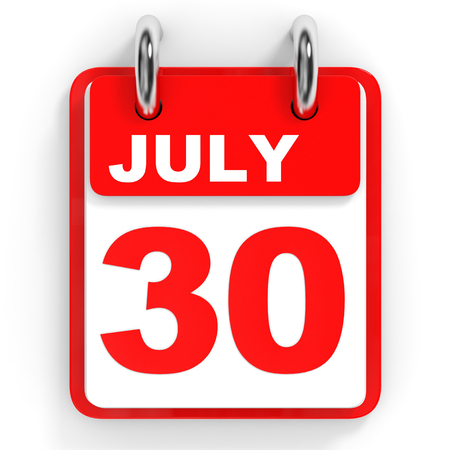 the 30: Calendar on white background. 30 July. 3D illustration.