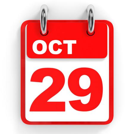 29: Calendar on white background. 29 October. 3D illustration.