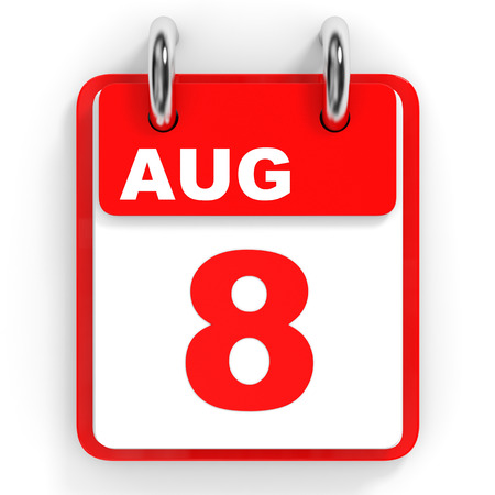 august: Calendar on white background. 8 August. 3D illustration.