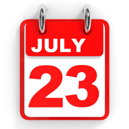 twenty second: Calendar on white background. 23 July. 3D illustration. Stock Photo