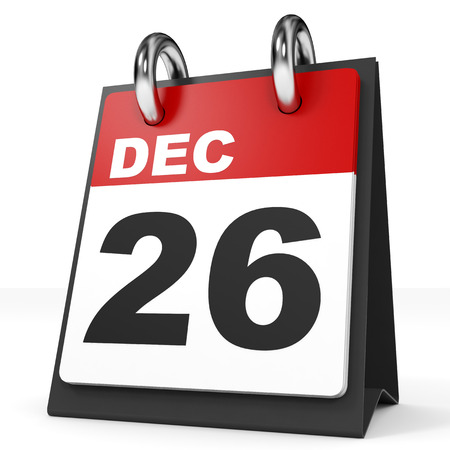 twenty sixth: Calendar on white background. 26 December. 3D illustration. Stock Photo