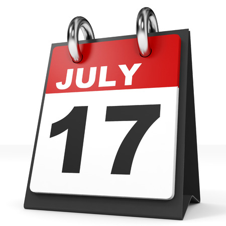 17: Calendar on white background. 17 July. 3D illustration.