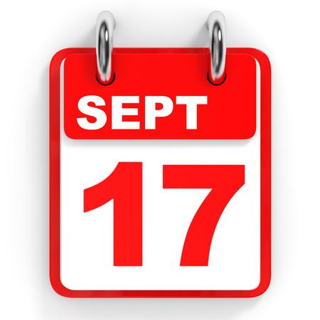 17: Calendar on white background. 17 September. 3D illustration.