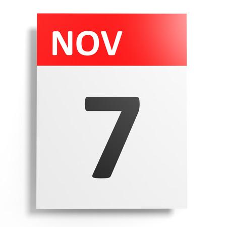 seventh: Calendar on white background. 7 November. 3D illustration.