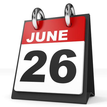 26th: Calendar on white background. 26 June. 3D illustration.