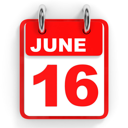 sixteenth note: Calendar on white background. 16 June. 3D illustration. Stock Photo