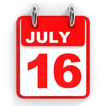 16: Calendar on white background. 16 July. 3D illustration. Stock Photo